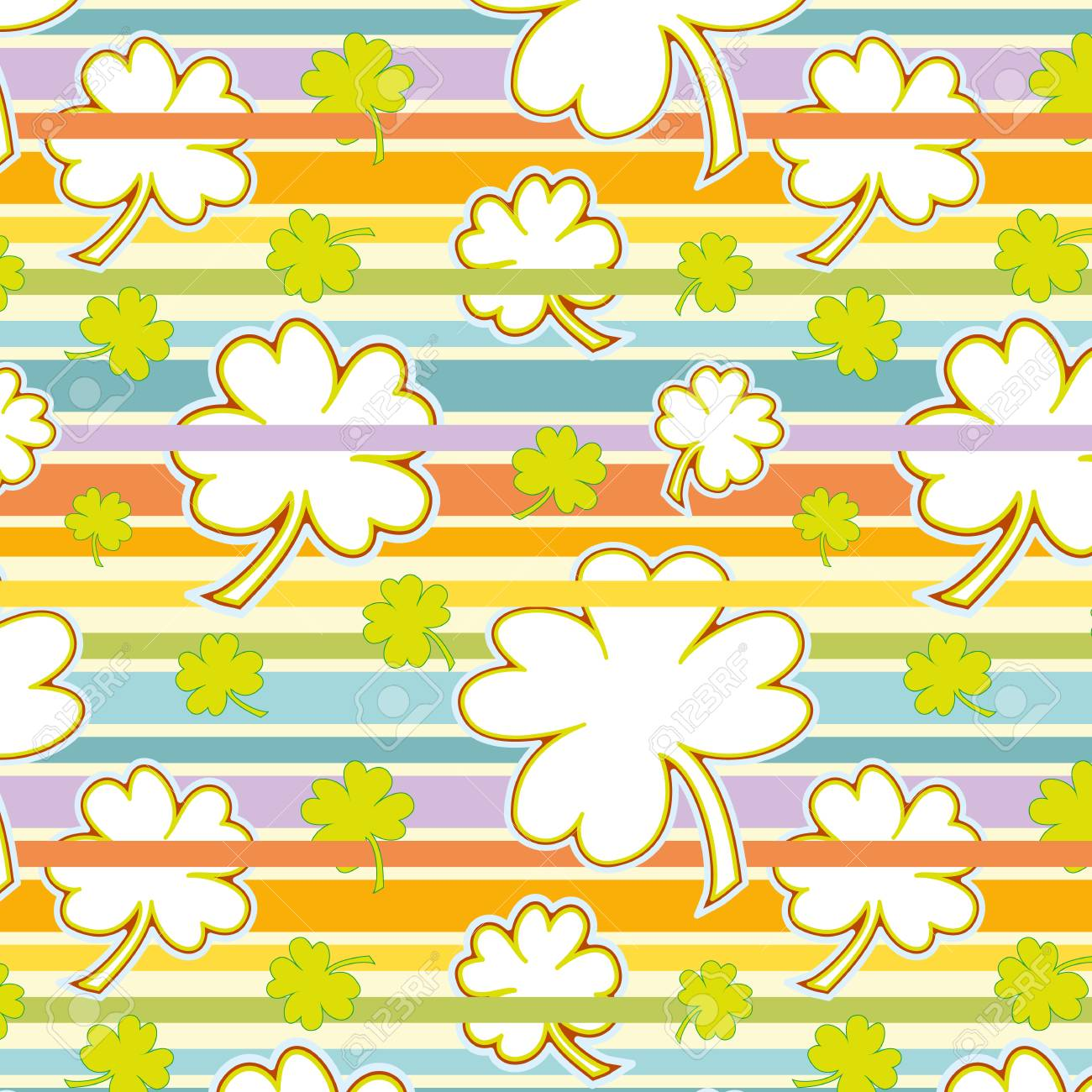 cute clover seamless pattern on a colorful striped background Stock Vector - 24772232