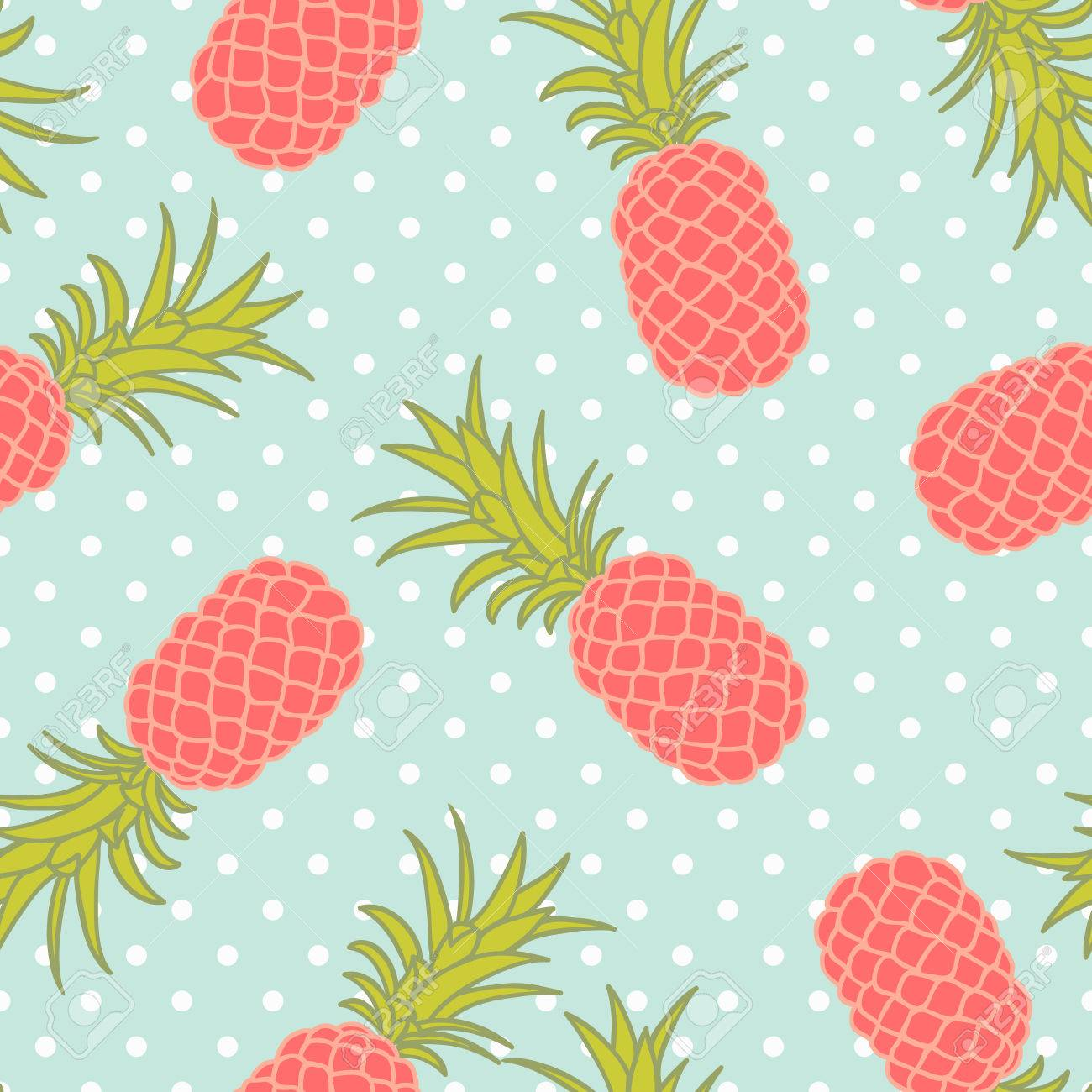 Seamless pineapple pattern with polka dots - 51746720