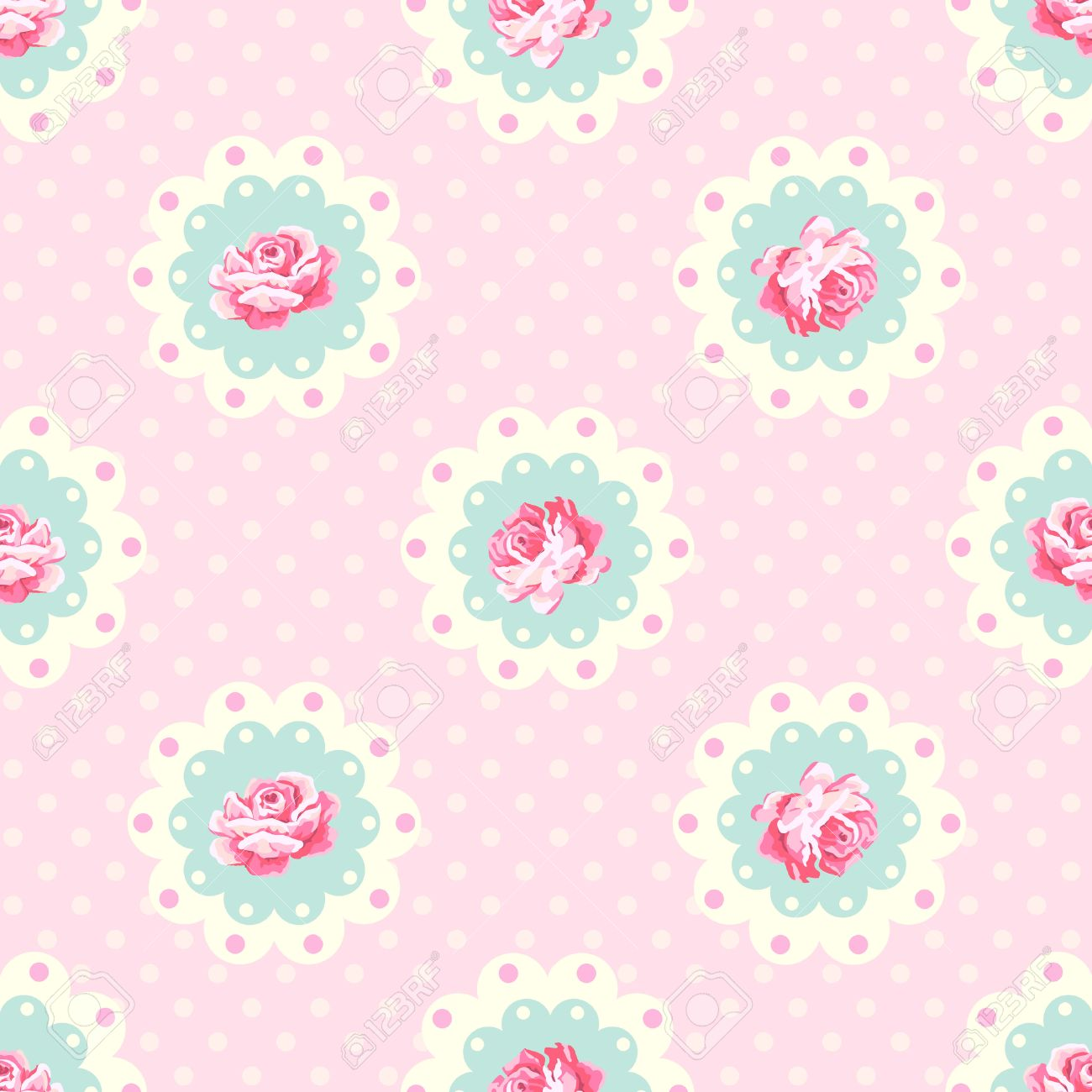 Vintage rose pattern. Shabby chic style vector background - 57172205