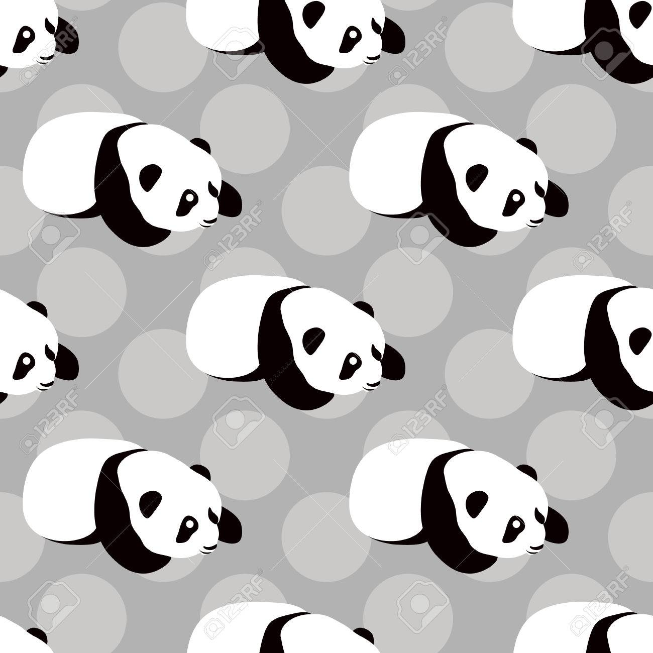 Panda Vecteur Dours De Fond Seamless Avec Mignon Panda Dessin Animé Dormir