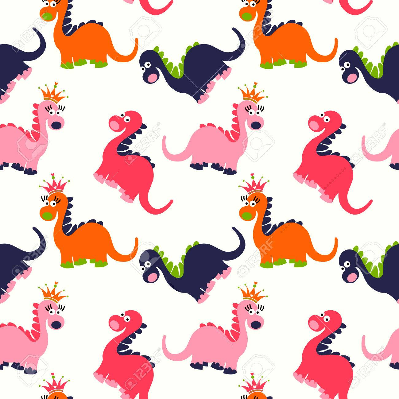 Patrón Sin Fisuras Dinosaurio Lindo. Fondo Adorable De Los ...