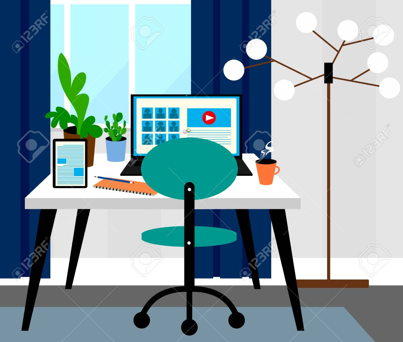 Home Office Room Interior Design Video Conferences Concept Royalty Free Cliparts Vectors And Stock Illustration Image 146138628