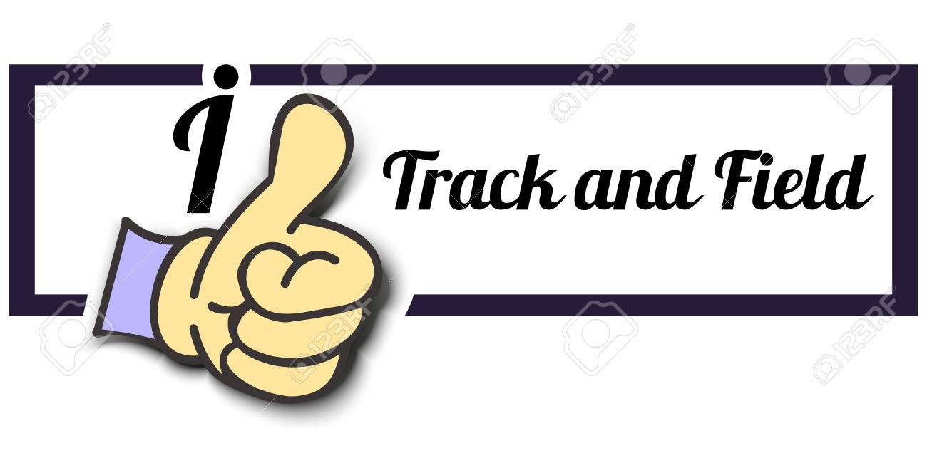 Frame I Like Track And Field Thumb Up Vector Graphic Logo