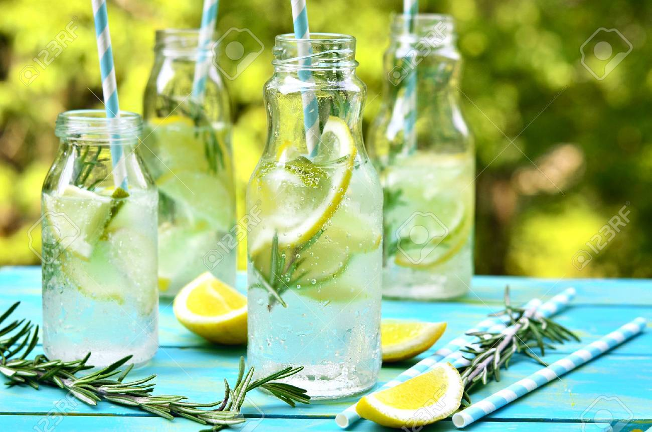 Citrus fizz with rosemary in a bottle. - 41225543