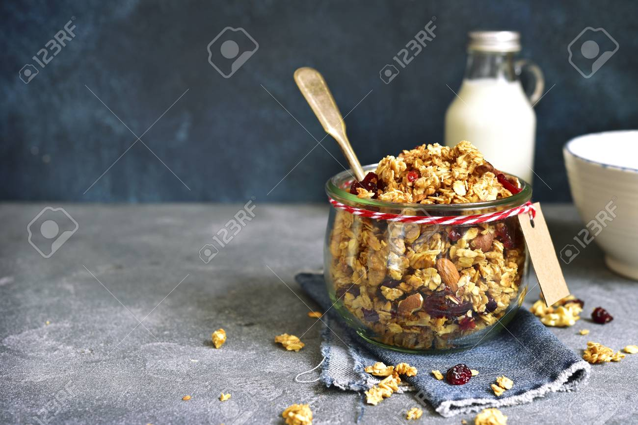 Homemade granola from mix of cereals barley oat rye bran homemade granola from mix of cereals barley oat rye bran with ccuart Images