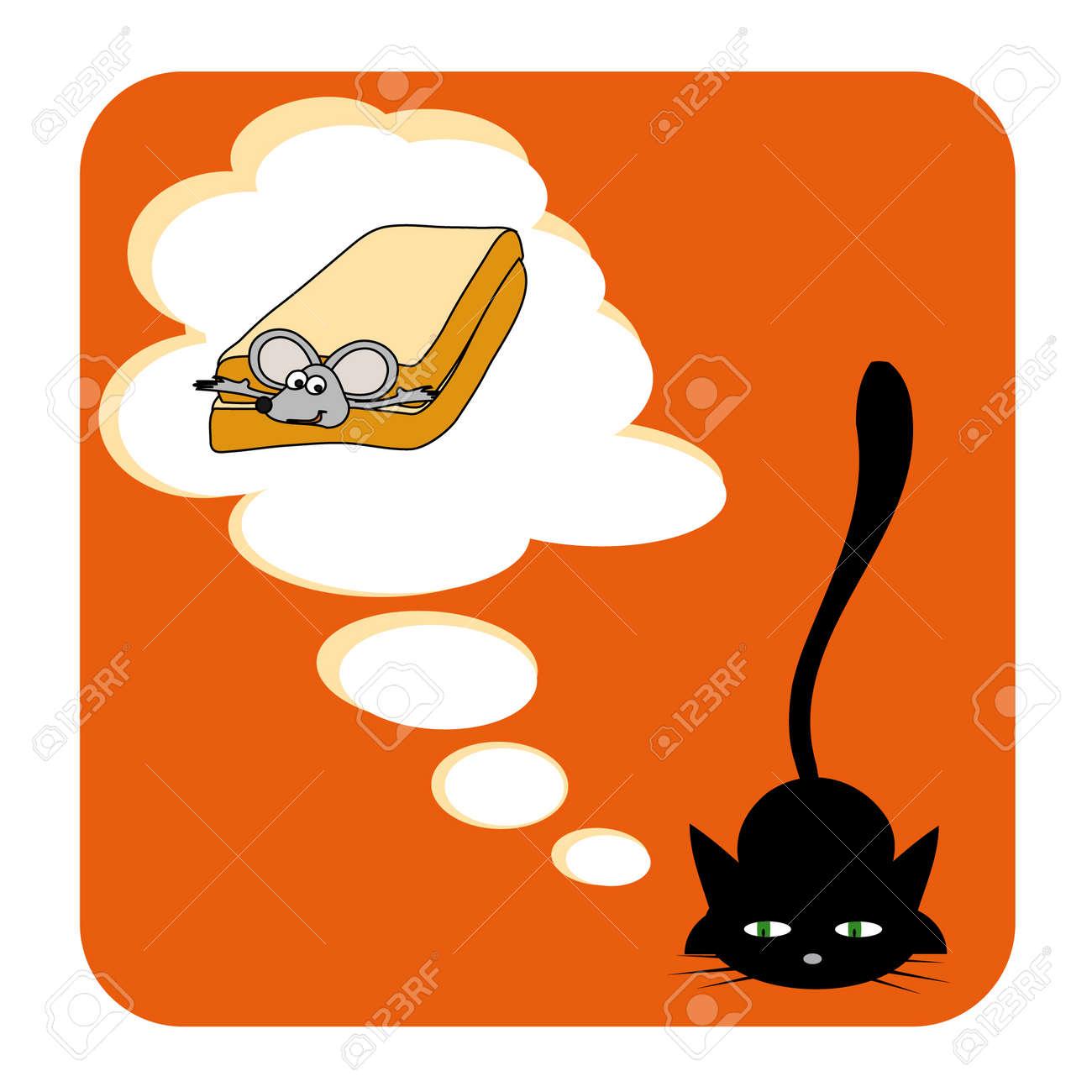 vector illustration of cat's dream Stock Vector - 3409837