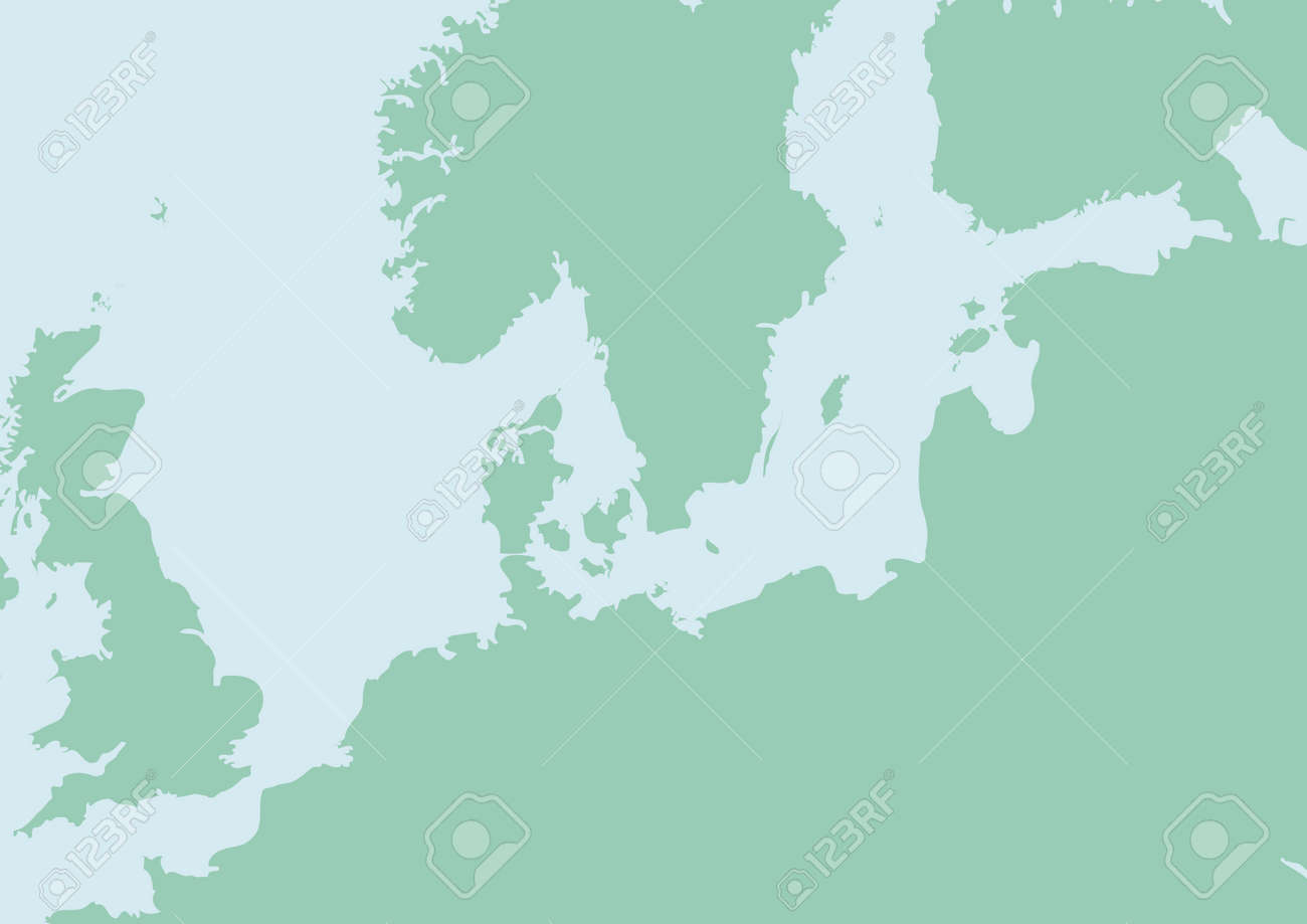Vector Map Of North Europe With Baltic Sea Royalty Free Cliparts