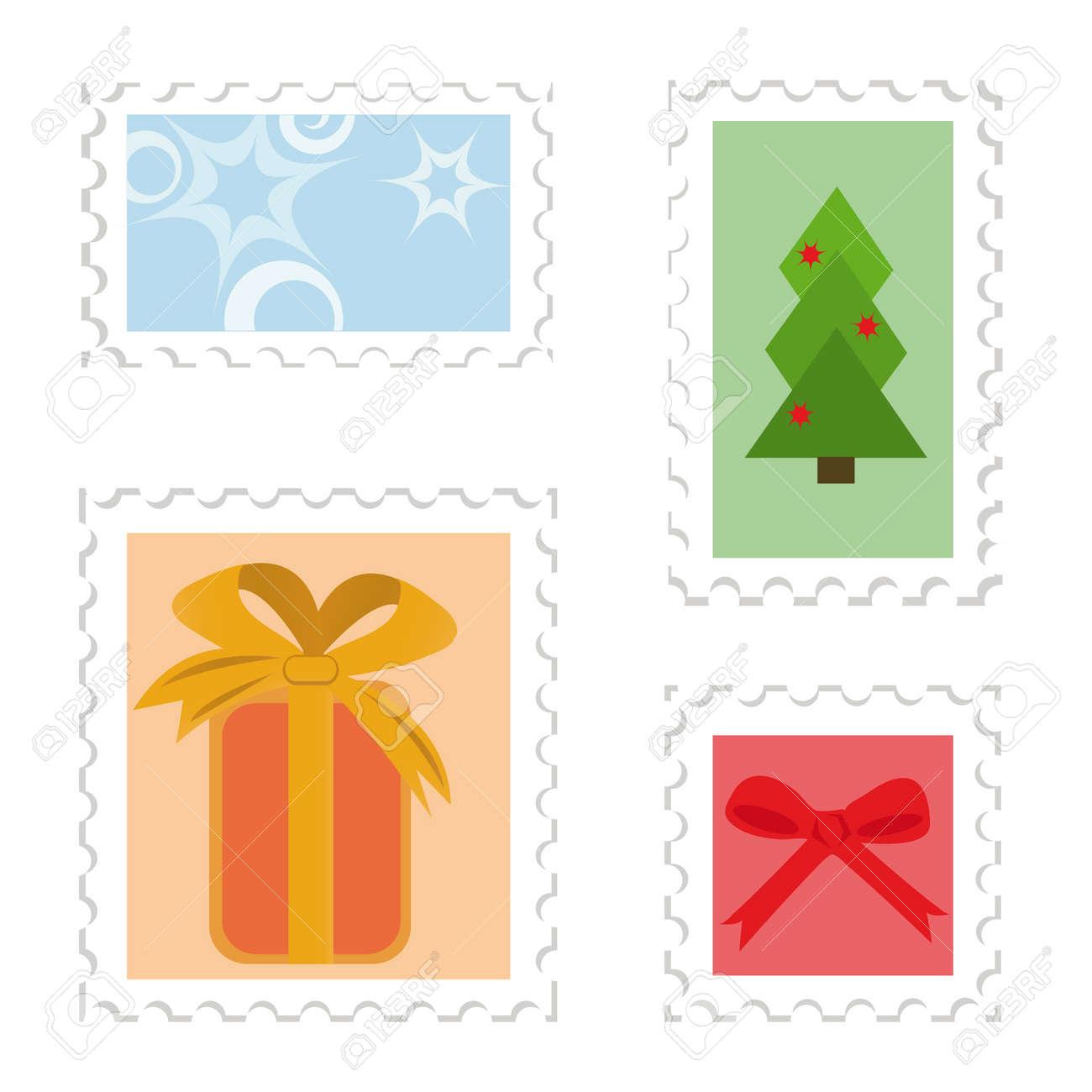 Set of postage stamps. Christmas theme (gift box, christmas tree, star, red bow) Stock Vector - 3768403