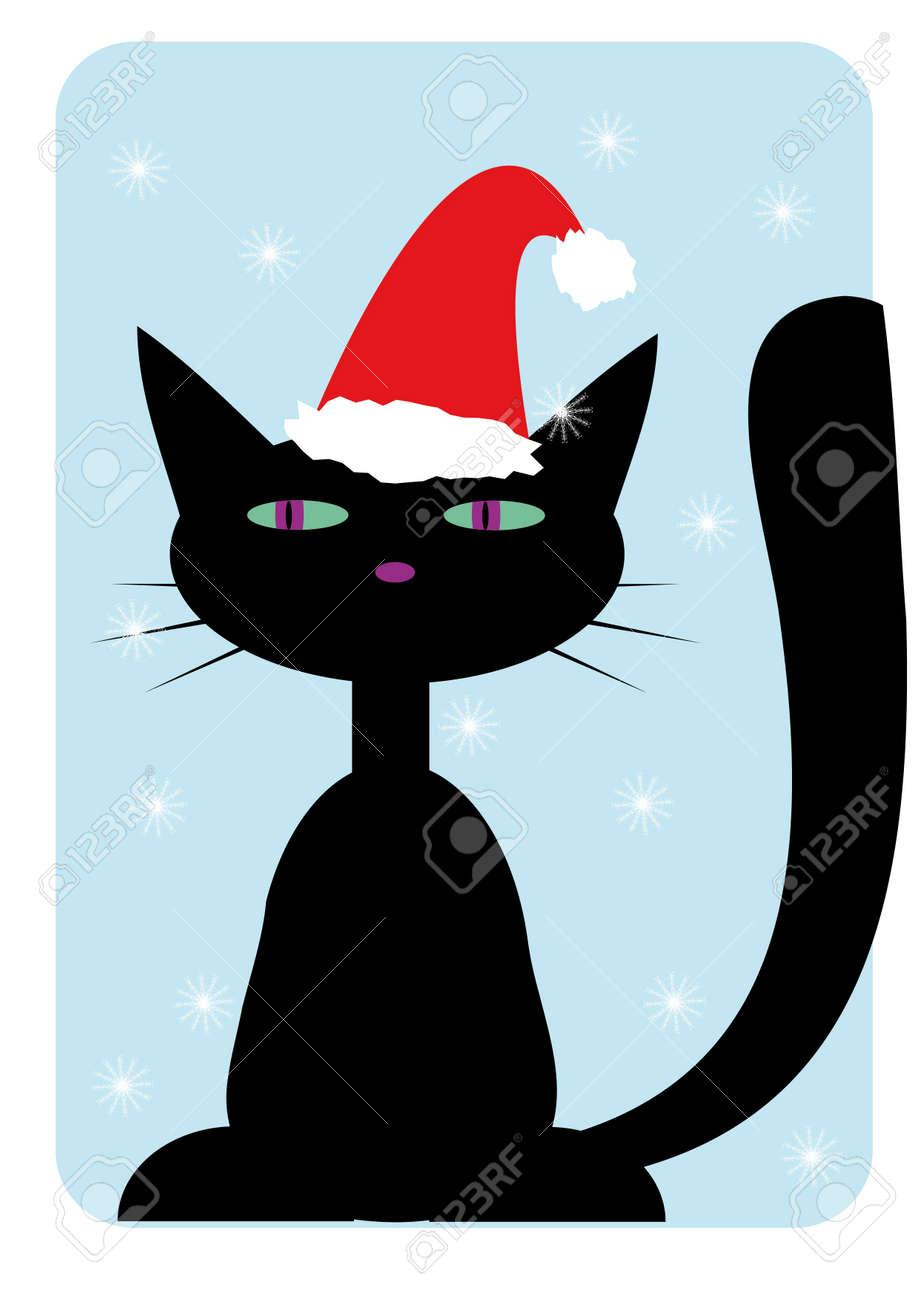 Black cat wearing in santa-claus hat Stock Vector - 3895505