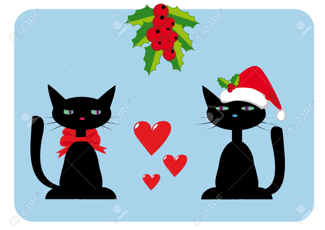 Christmas illustration with two cats on blue background Stock Vector - 3983751