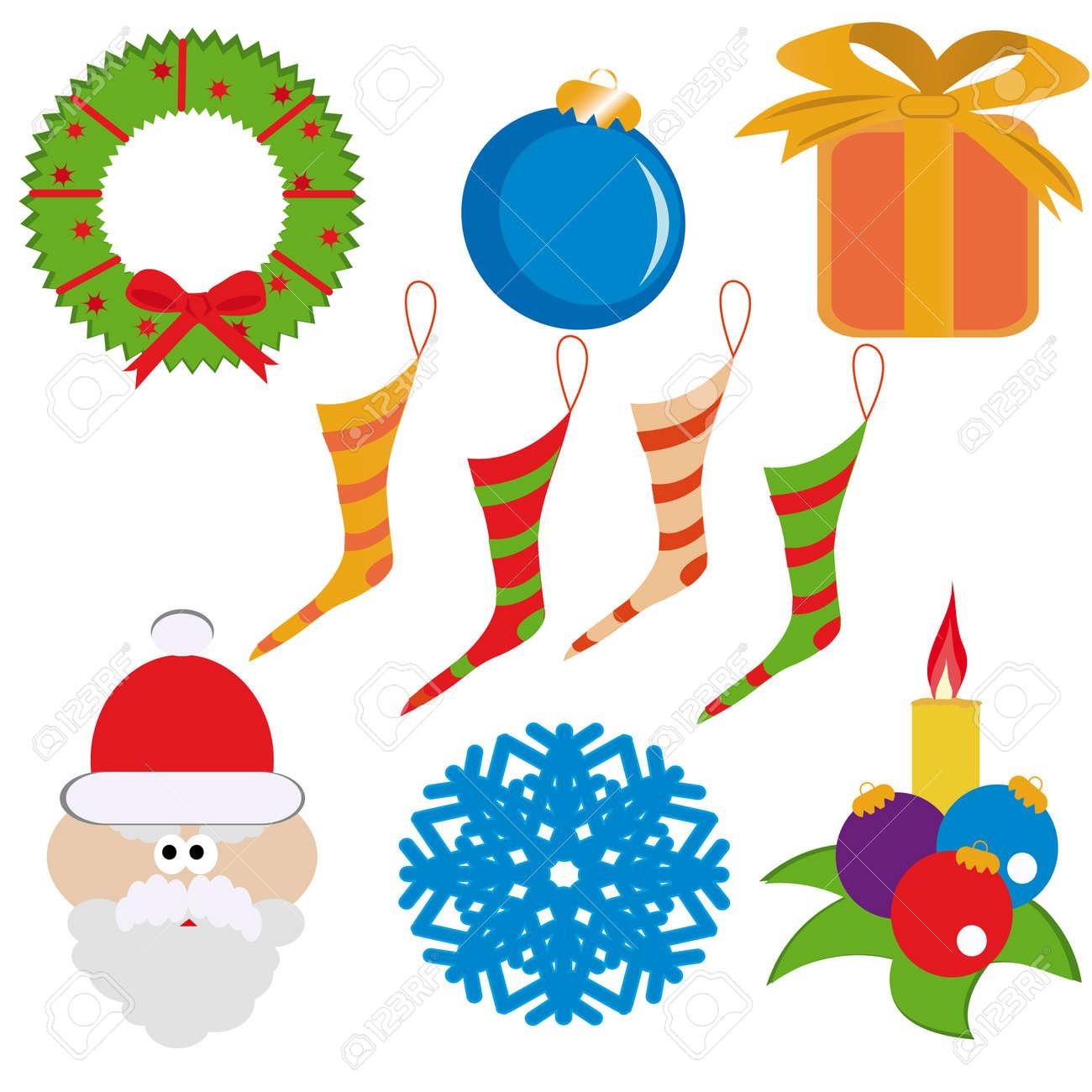 Cristmas set( garland, santa-claus, ball, gift-box, snowflake, candle, socks). Vector illustration. Stock Vector - 3983768