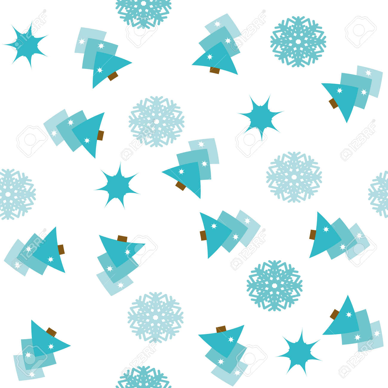 Seamless pattern with christmas trees, stars and snowflakes Stock Vector - 3983774