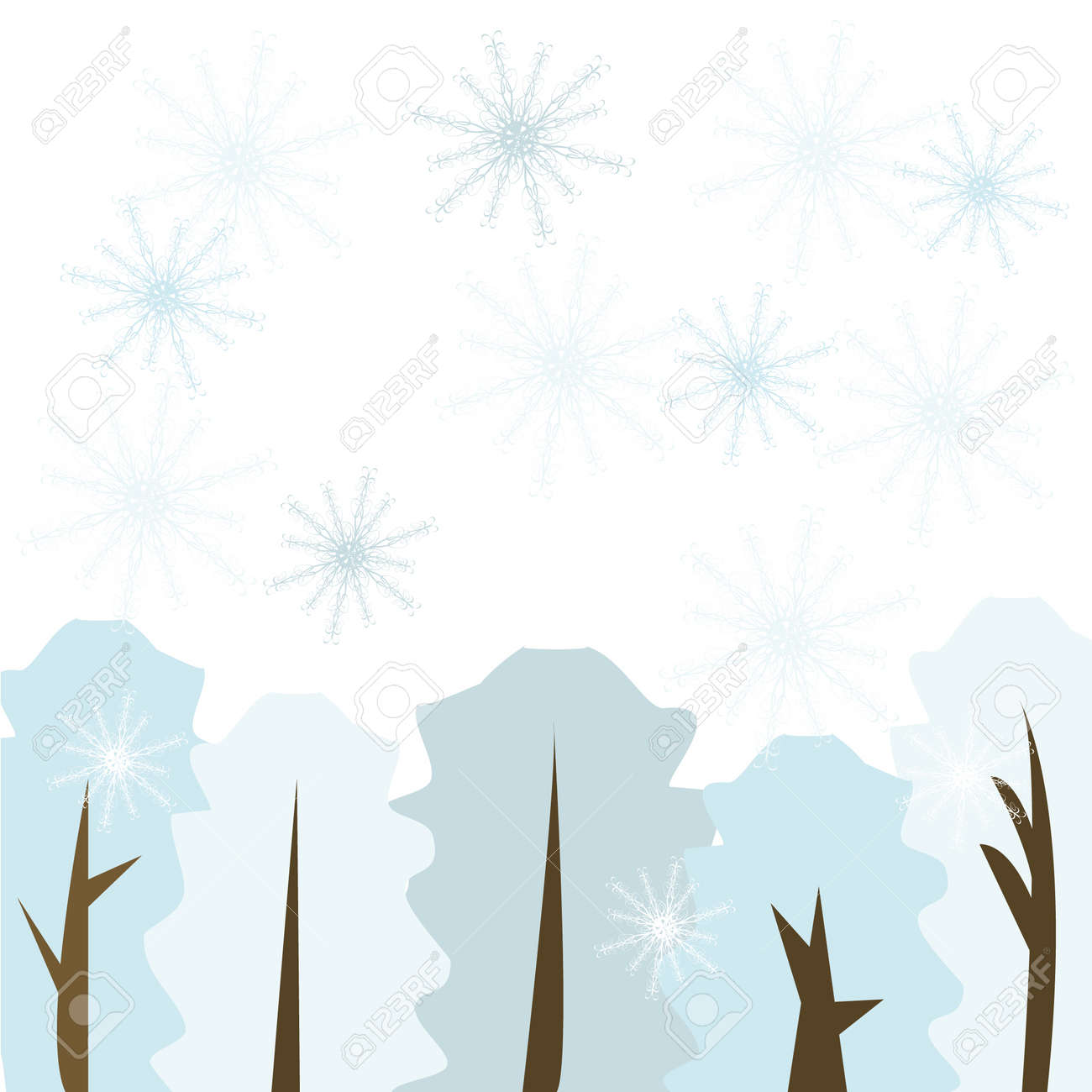 Winter forest with snowflakes Stock Vector - 3983798