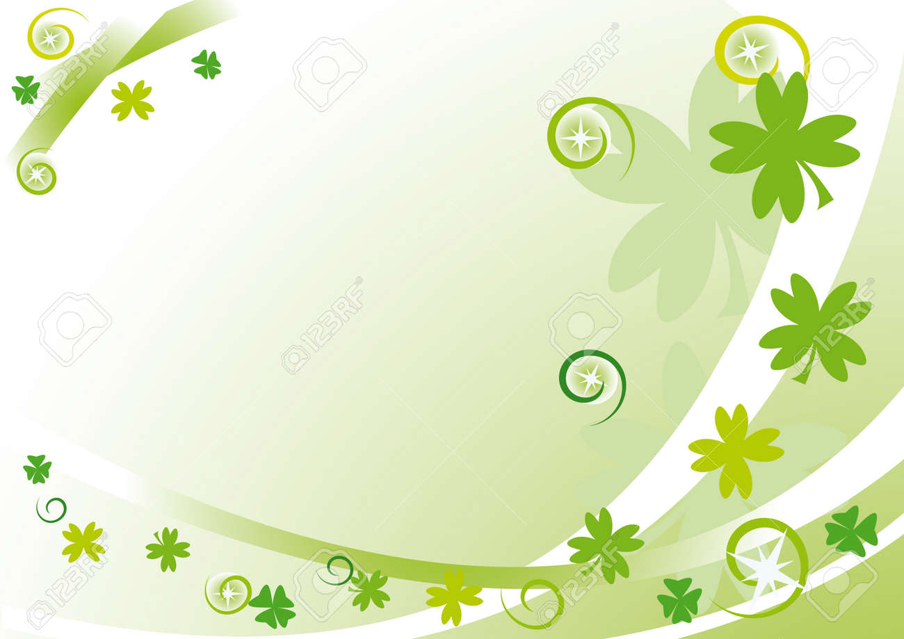 Green frame with quatrefoils, stars, circles and spirals for St. Patrick's Day Stock Vector - 4200622
