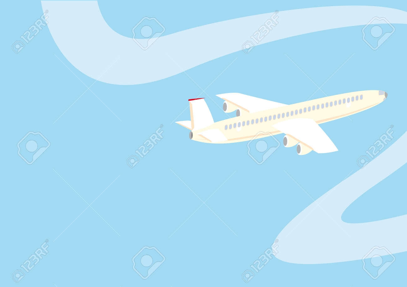 Background with jet airplane in the sky. Stock Vector - 4634786