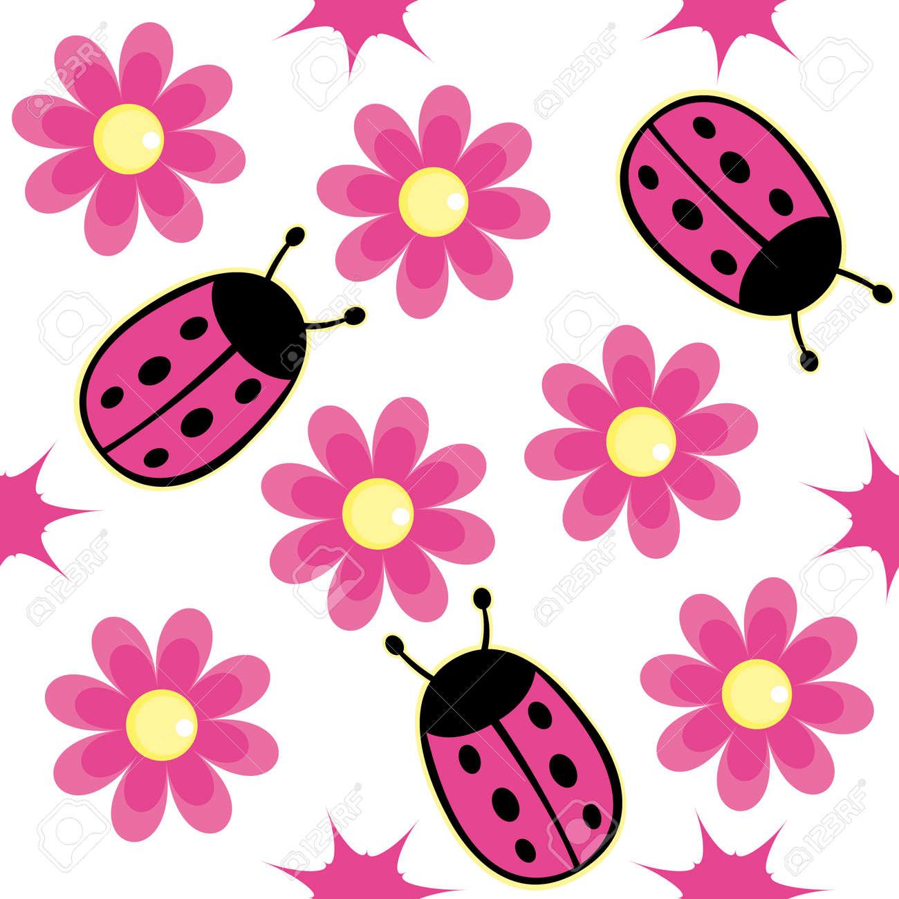 Pink Ladybug Wallpaper