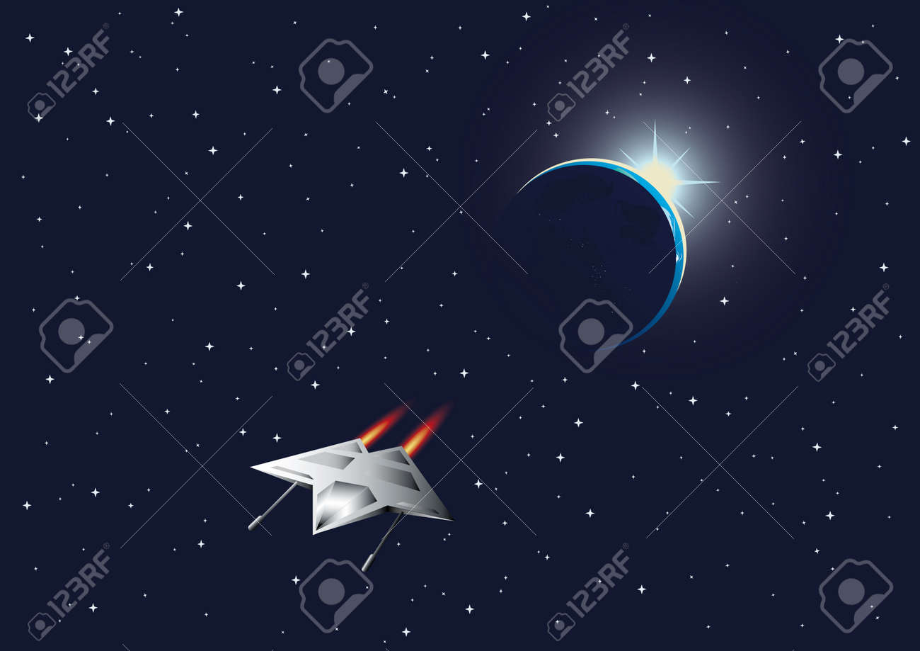 Cosmic background with the Earth and space fighter. Stock Vector - 5099181
