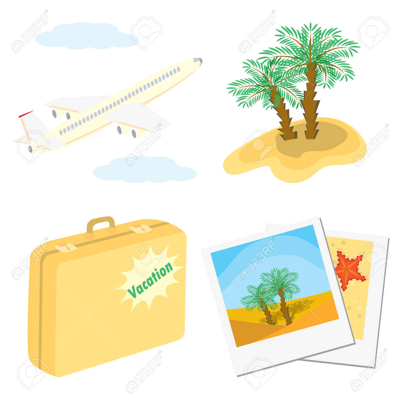 Set of color vacation icons (aircraft, palm trees, suitcase, photos). Vector illustrations. Stock Vector - 5466656