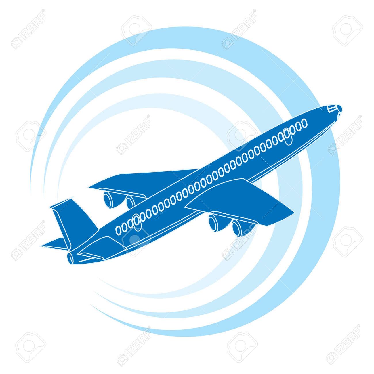 Icono De Avión En Color Azul. Ilustración Del Vector. Ilustraciones ...