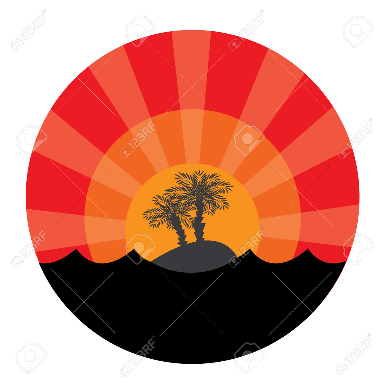 Island with two palm-trees at sunset background. Vector illustration Stock Vector - 6392330