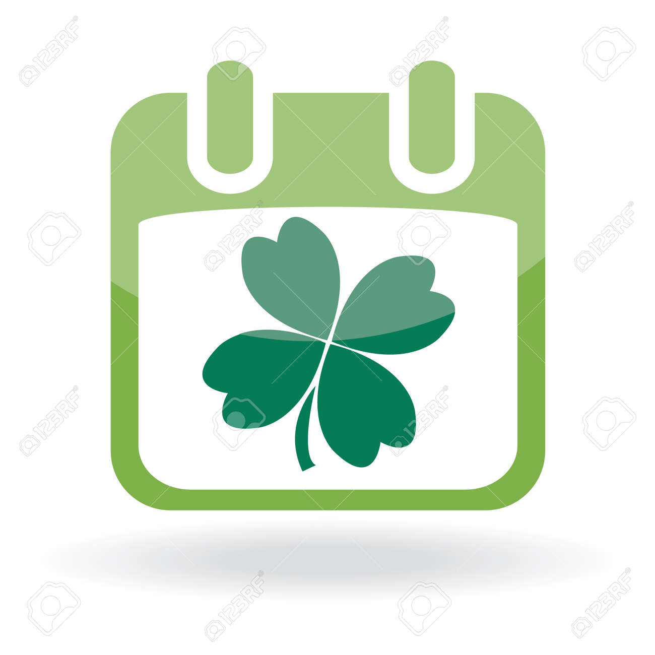 Calendar with clover leaf. St. Patrick's day icon. Stock Vector - 6531809