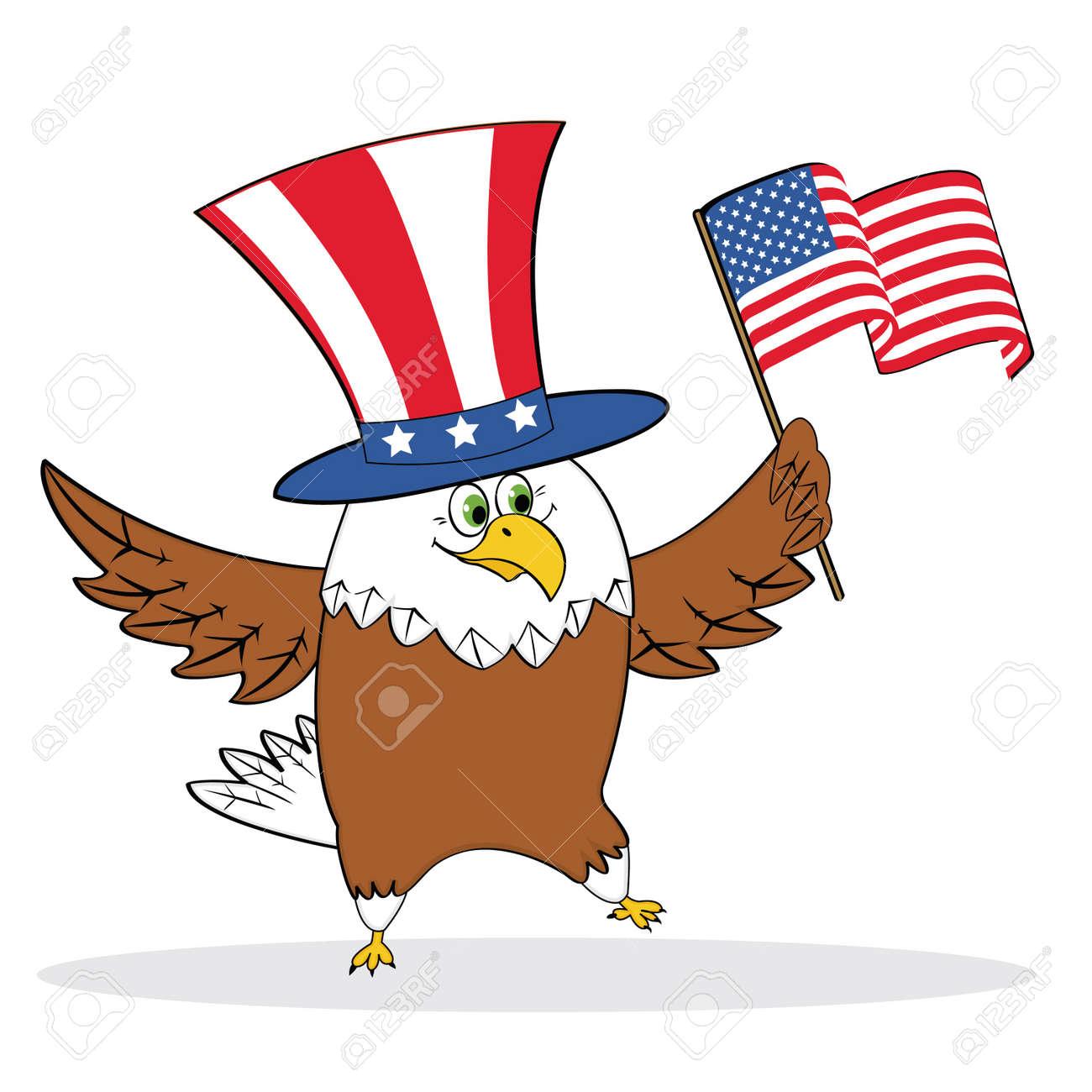 Cartoon Patriotic Eagle Holding American Flag Vector Illustration