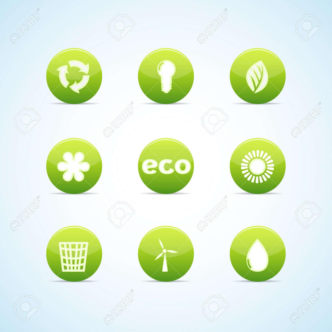 Ecology icon set for green design Stock Vector - 12945646