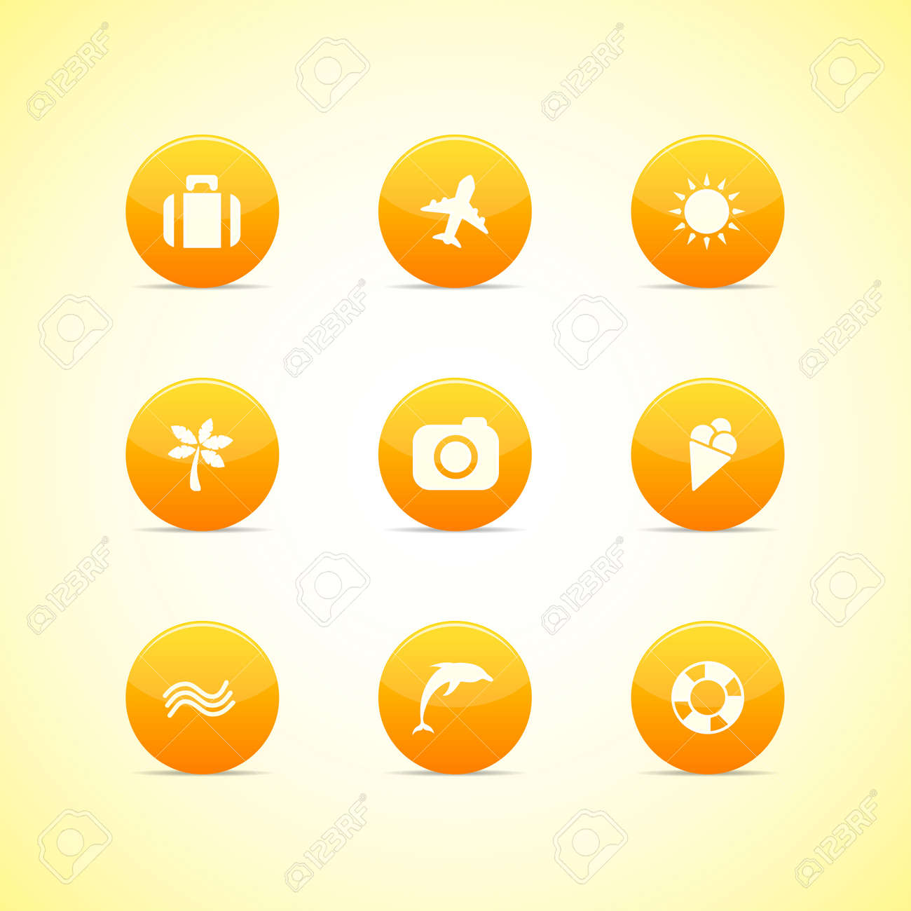 Set of orange icons  holiday theme Stock Vector - 13054030