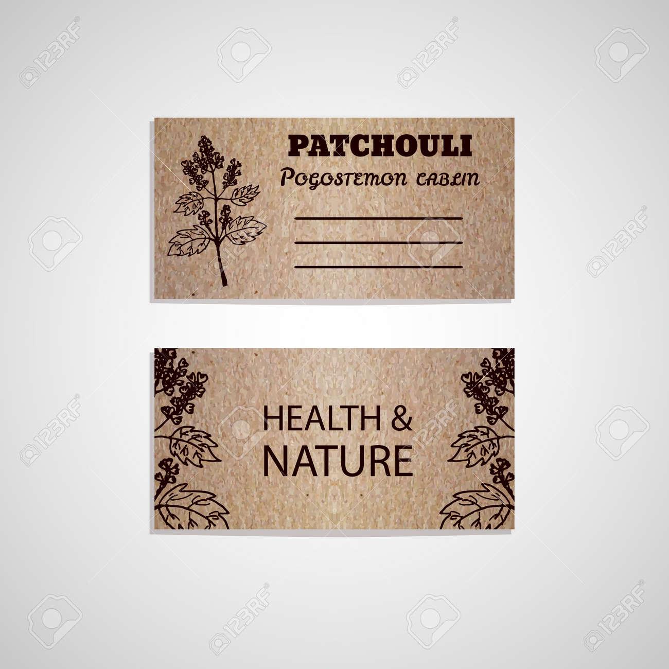 Health and nature collection cardboard business card template health and nature collection cardboard business card template with a herb patchouli pogostemon colourmoves