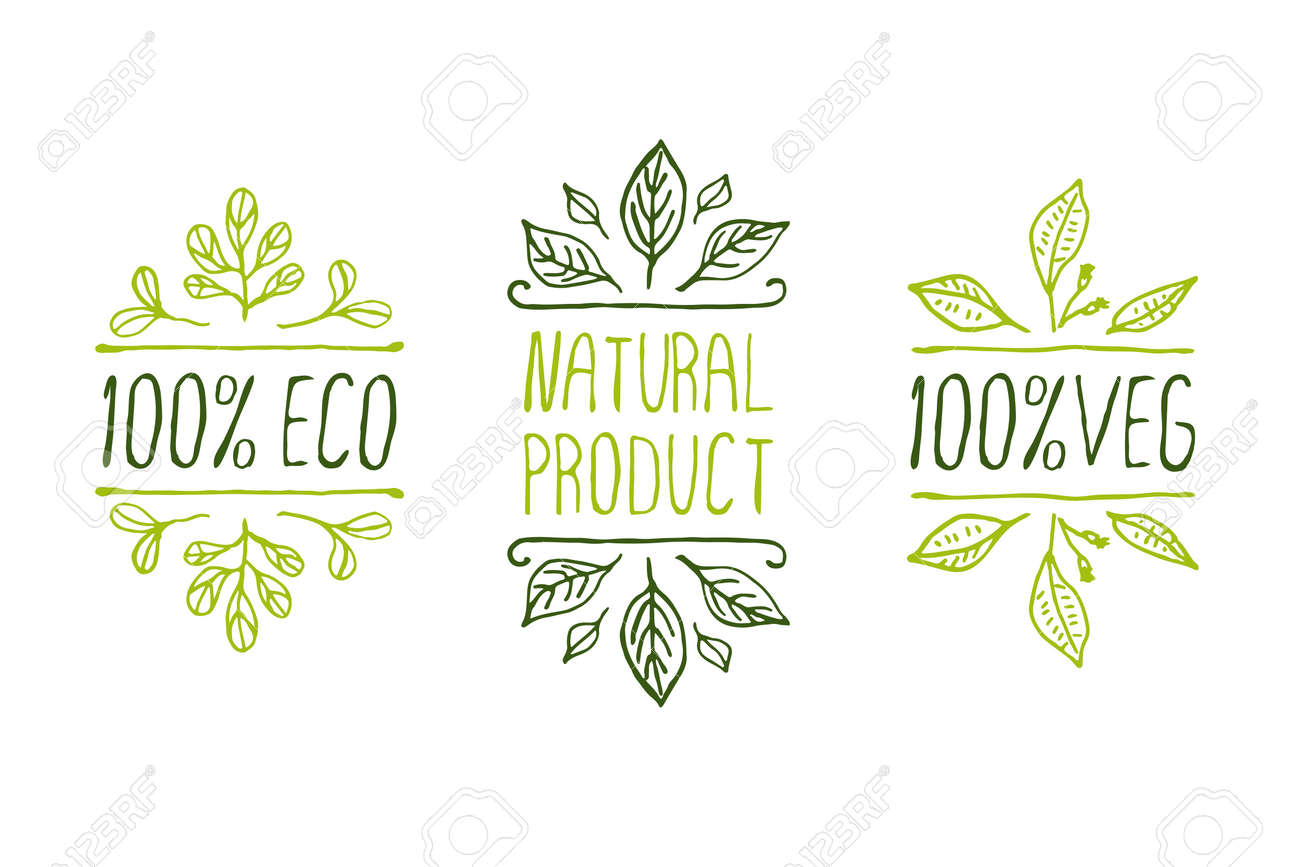 Hand-sketched typographic elements. Natural product labels. Suitable for ads, signboards, packaging and identity and web designs - 38060158