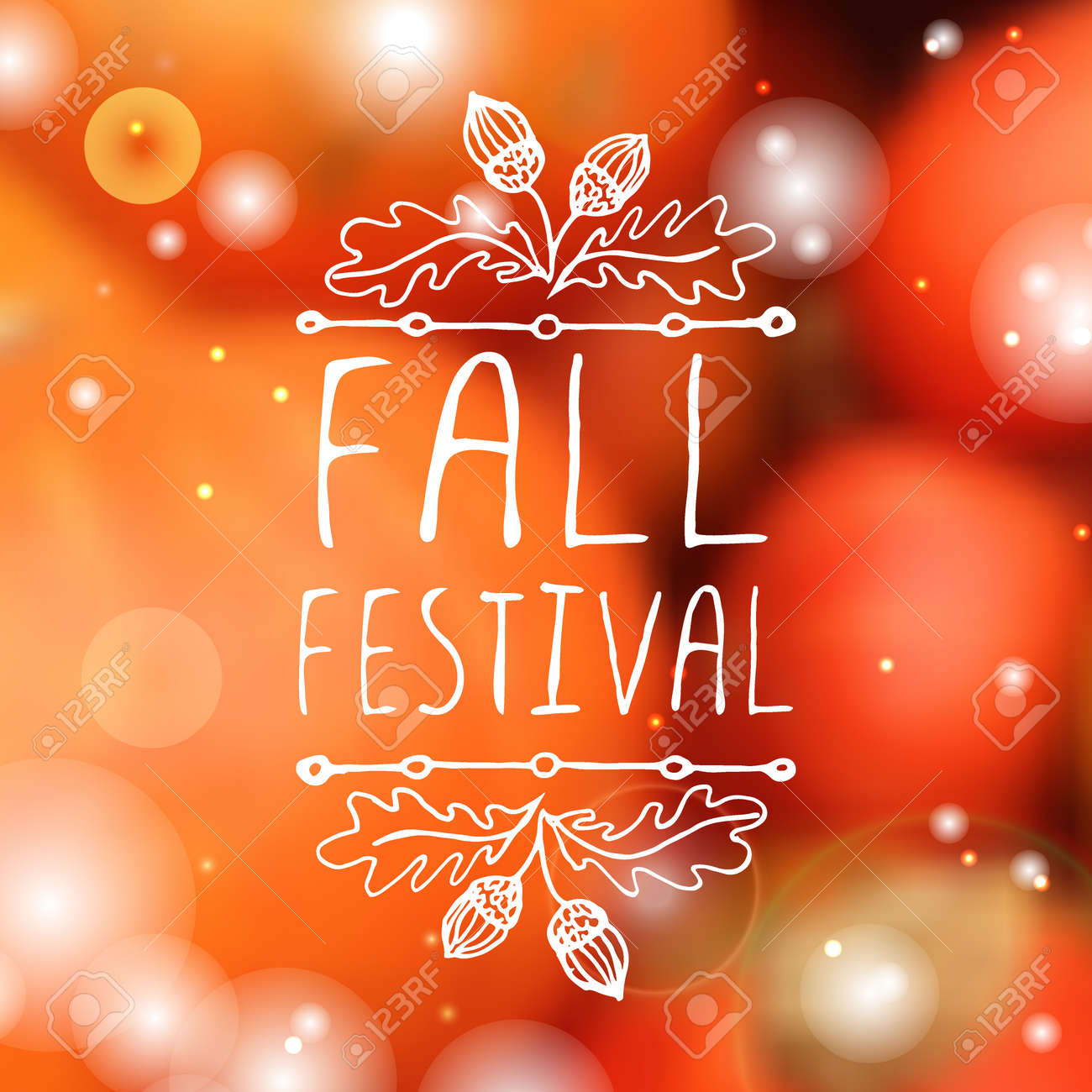 Fall festival. Hand-sketched typographic element with acorns on blurred background. - 46550810