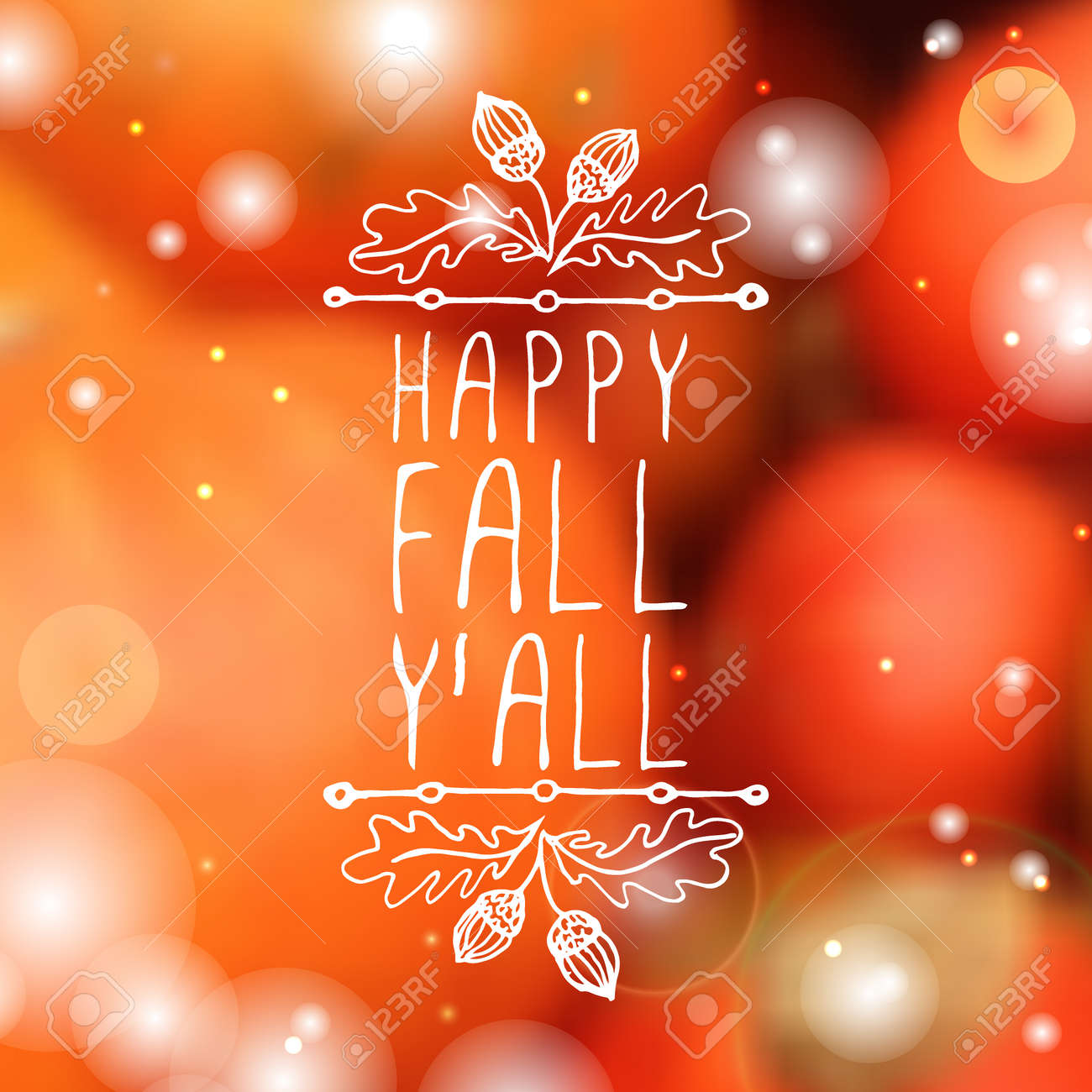 Happy Fall Y All Hand Sketched Typographic Element With Acorns Royalty Free Cliparts Vectors And Stock Illustration Image 46550818