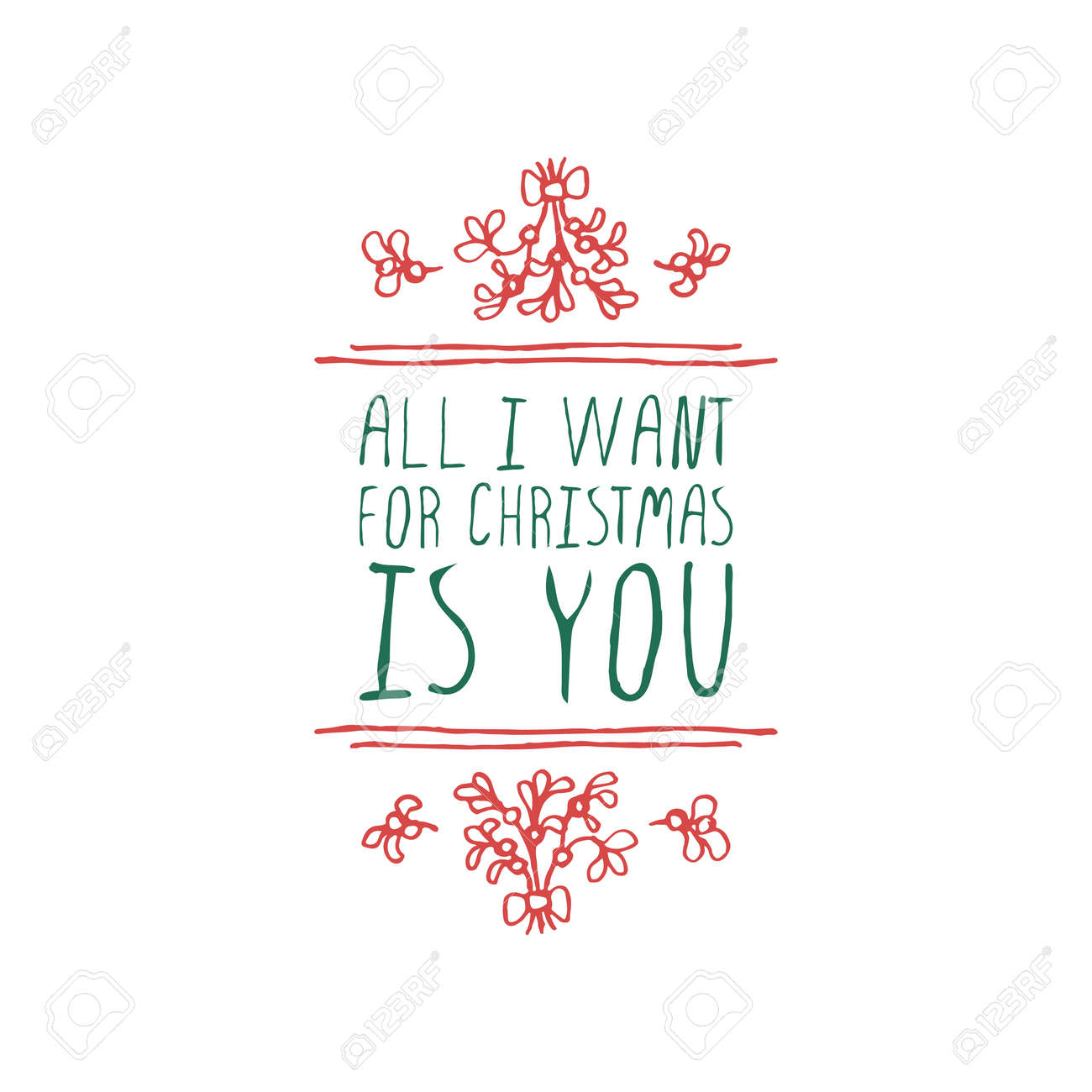 Christmas Label With Text On White Background. All I Want For ...