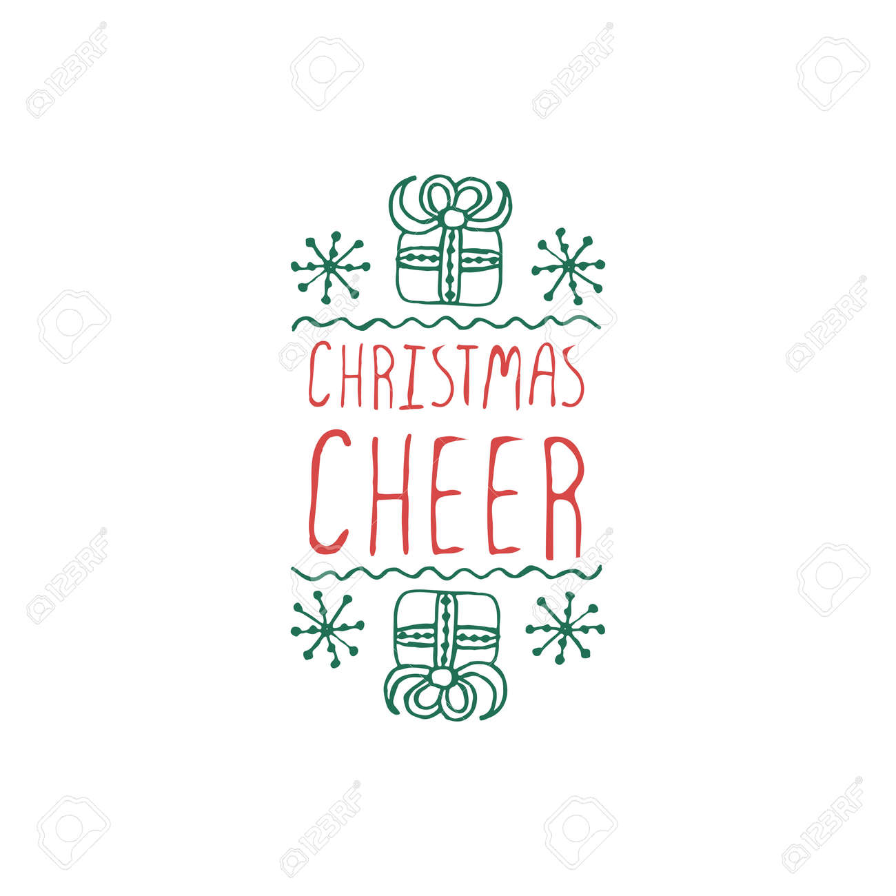 Christmas Label With Text On White Background. Christmas Cheer ...