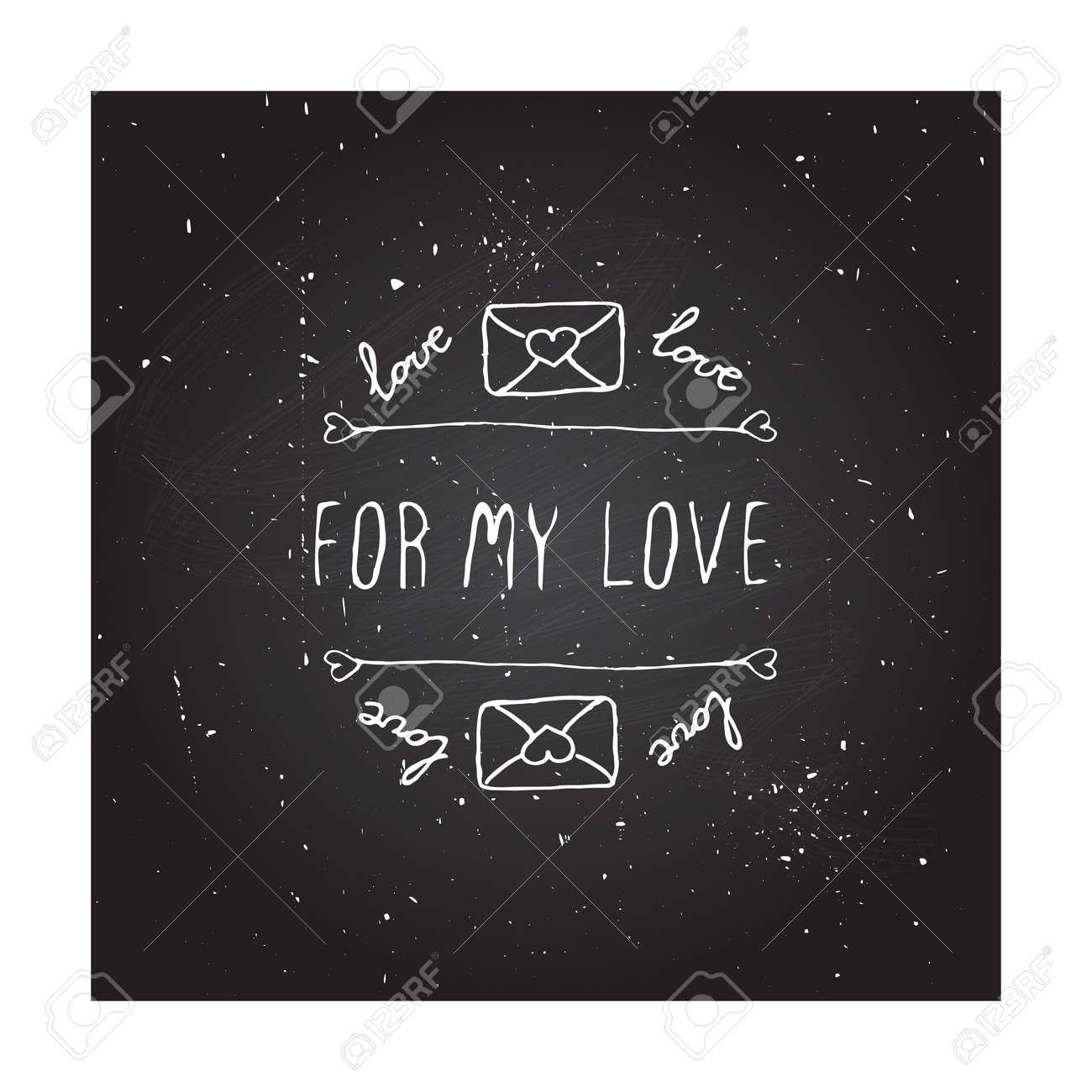 Saint Valentines Jour Carte De Voeux Pour Mon Amour Bannière Typographic Avec Du Texte Et Des Lettres Damour Sur Fond Tableau Vector Handdrawn