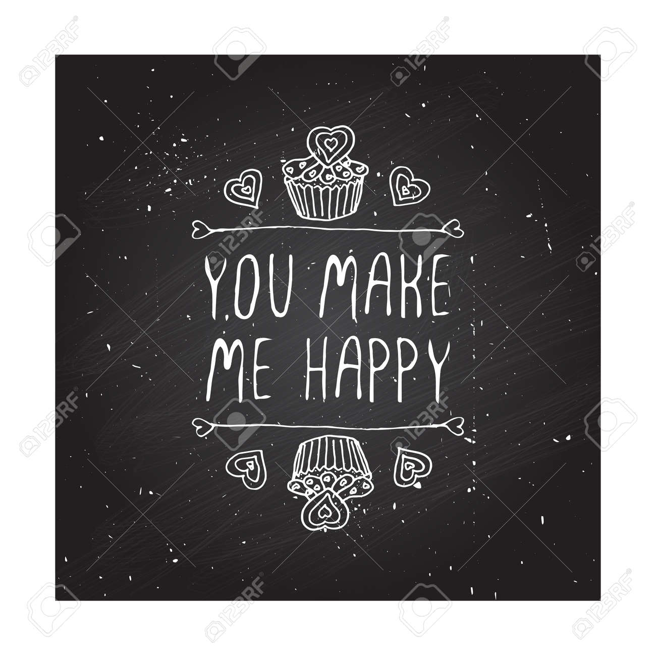 Saint Valentines Day Greeting Card You Make Me Happy Typographic
