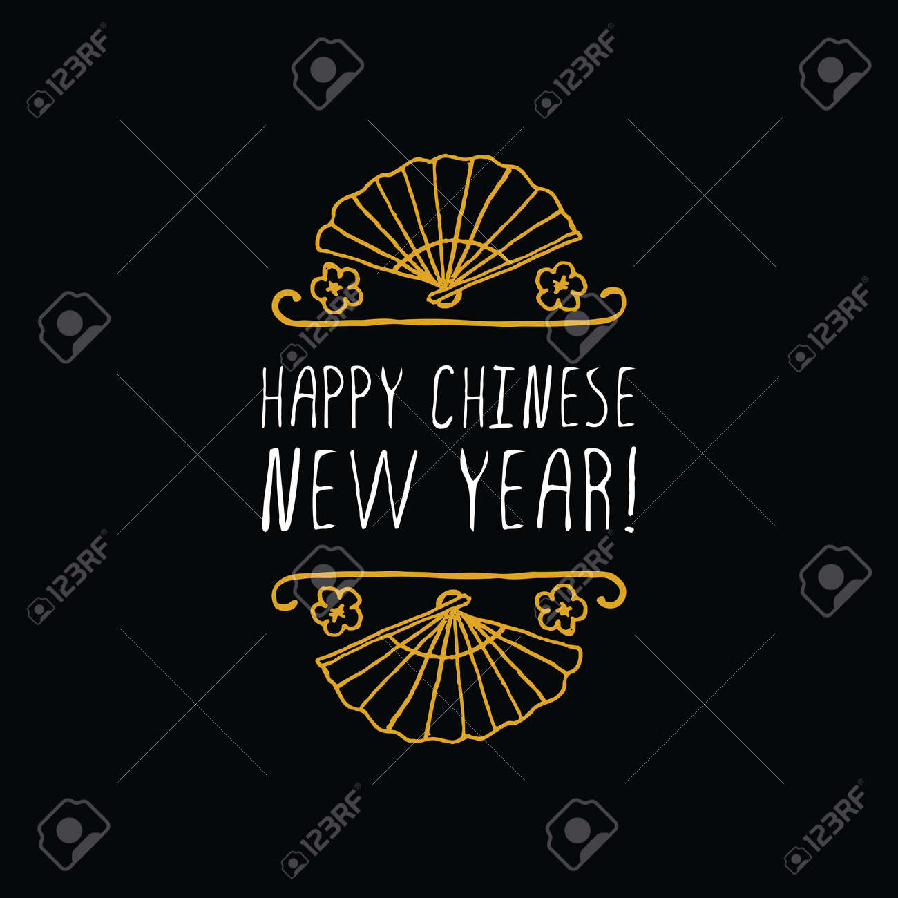 chinese new year greeting card poster template with doodle chinese lantern and text on chalkboard