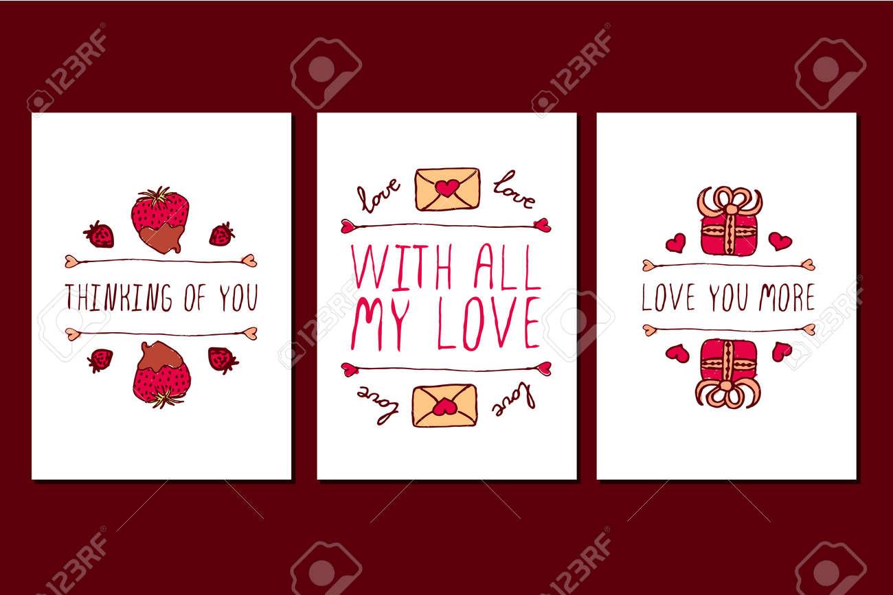 Set Von Saint Valentinstag Grußkarten. Poster-Vorlagen Mit Doodle ...