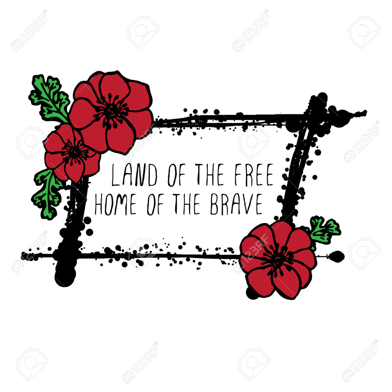 Memorial Day Card With Red Poppies And Black Stains Text Land Royalty Free Cliparts Vectors And Stock Illustration Image 56479307