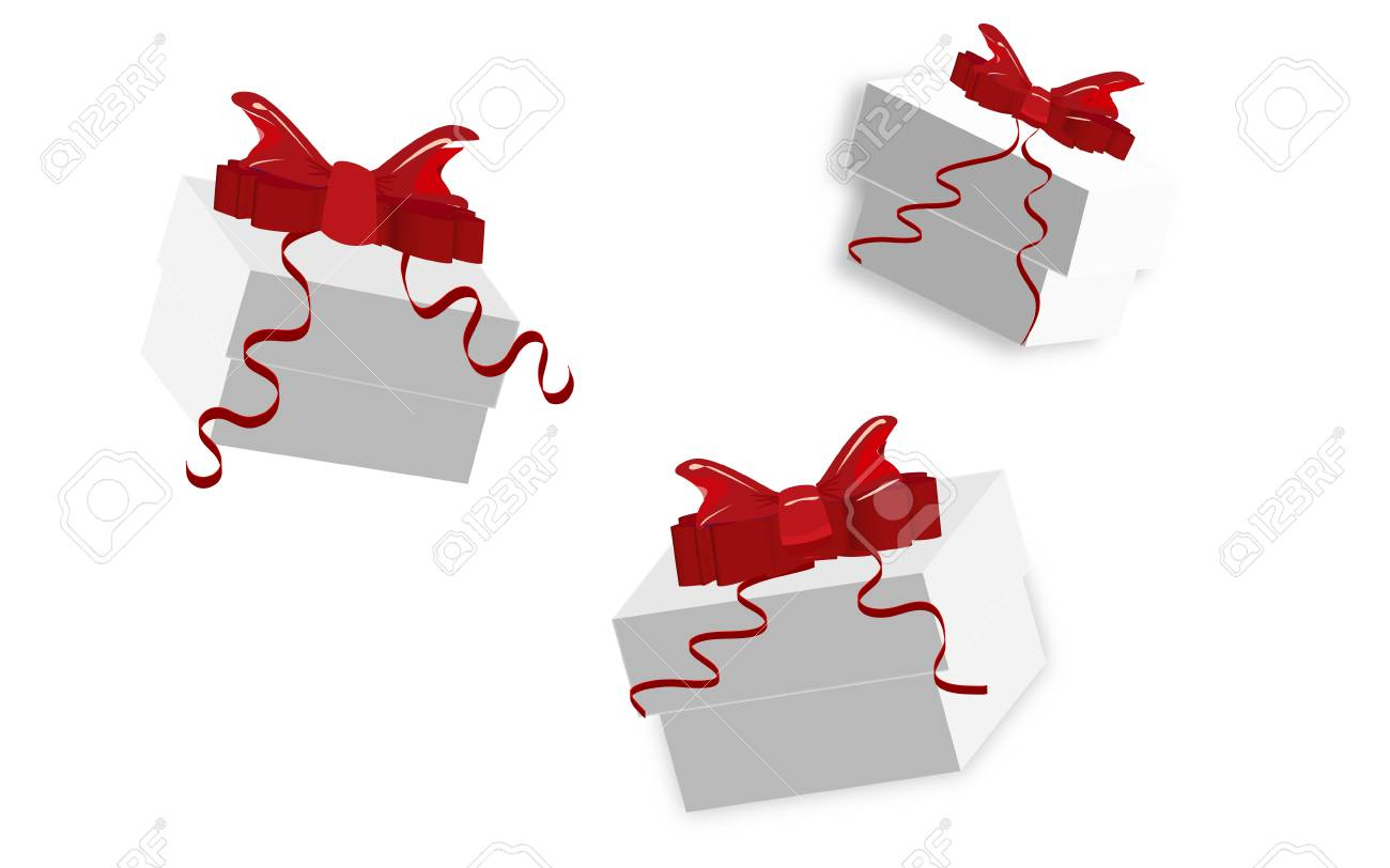 Set of gift boxes with bows and ribbons Stock Vector - 16850956