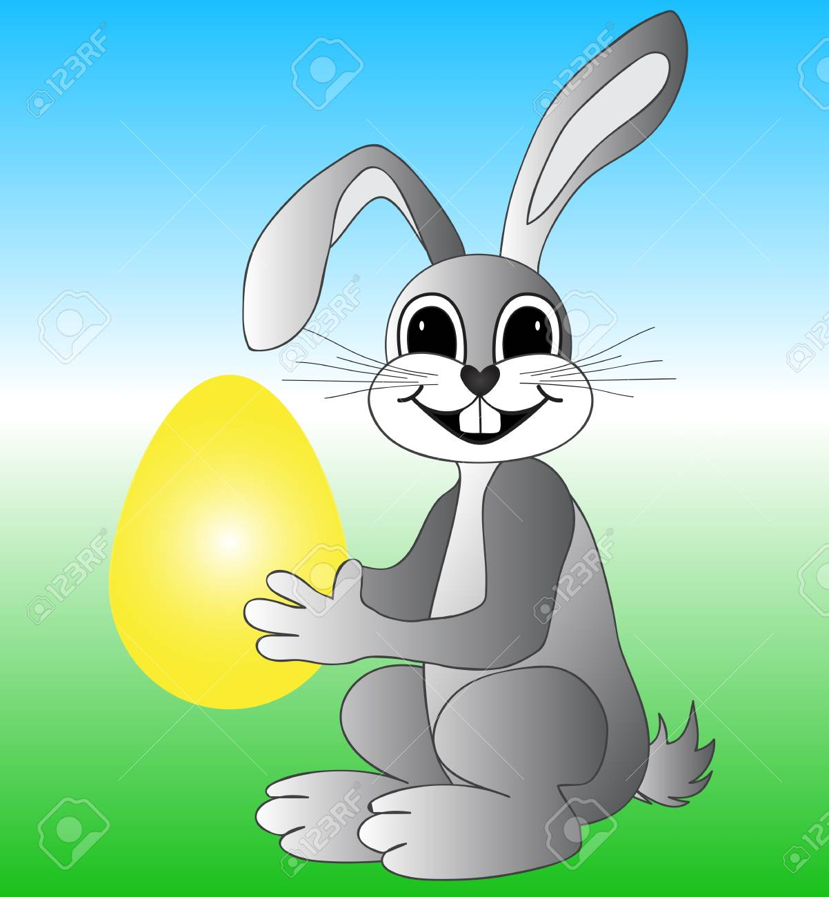 Easter bunny with eggs Stock Vector - 18349941