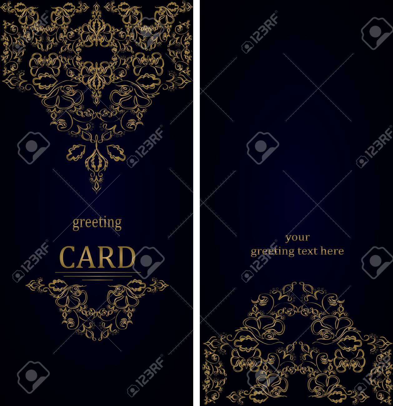 Vintage Greeting Cards In Victorian Style Royalty Free Cliparts