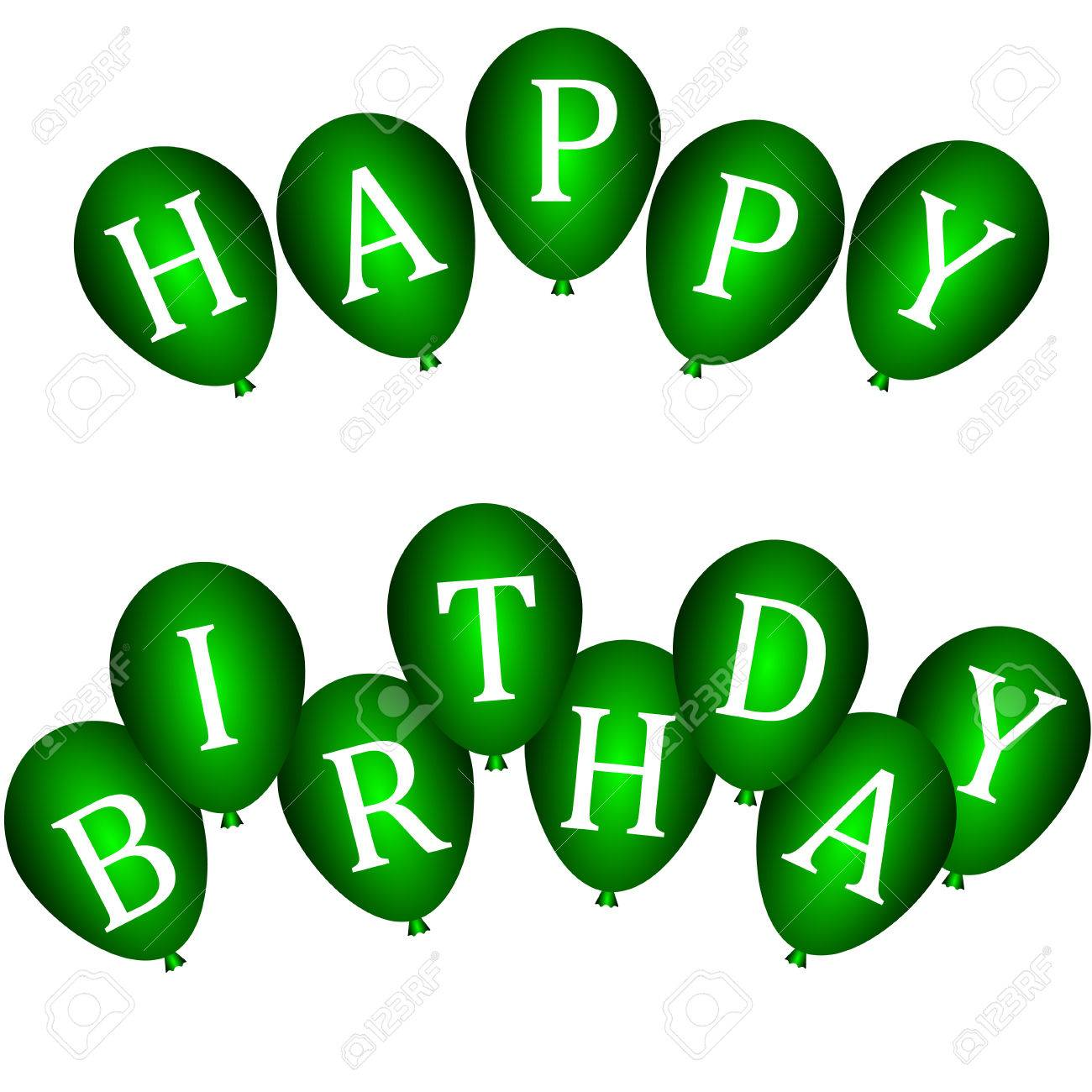 Well-known Happy Birthday Banners With Green Balloons Royalty Free Cliparts  OZ77