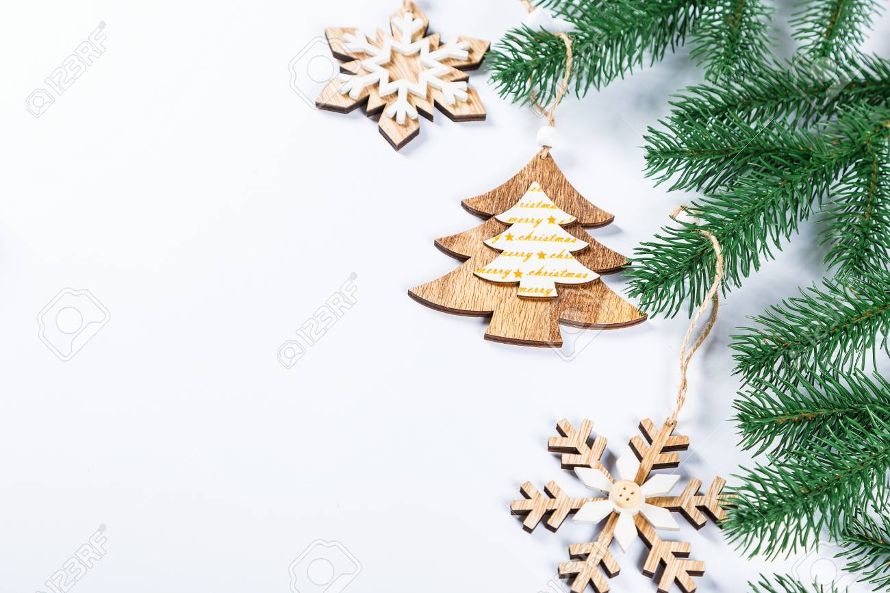 Christmas Frame With The Branches Of The Christmas Tree And Wooden ...