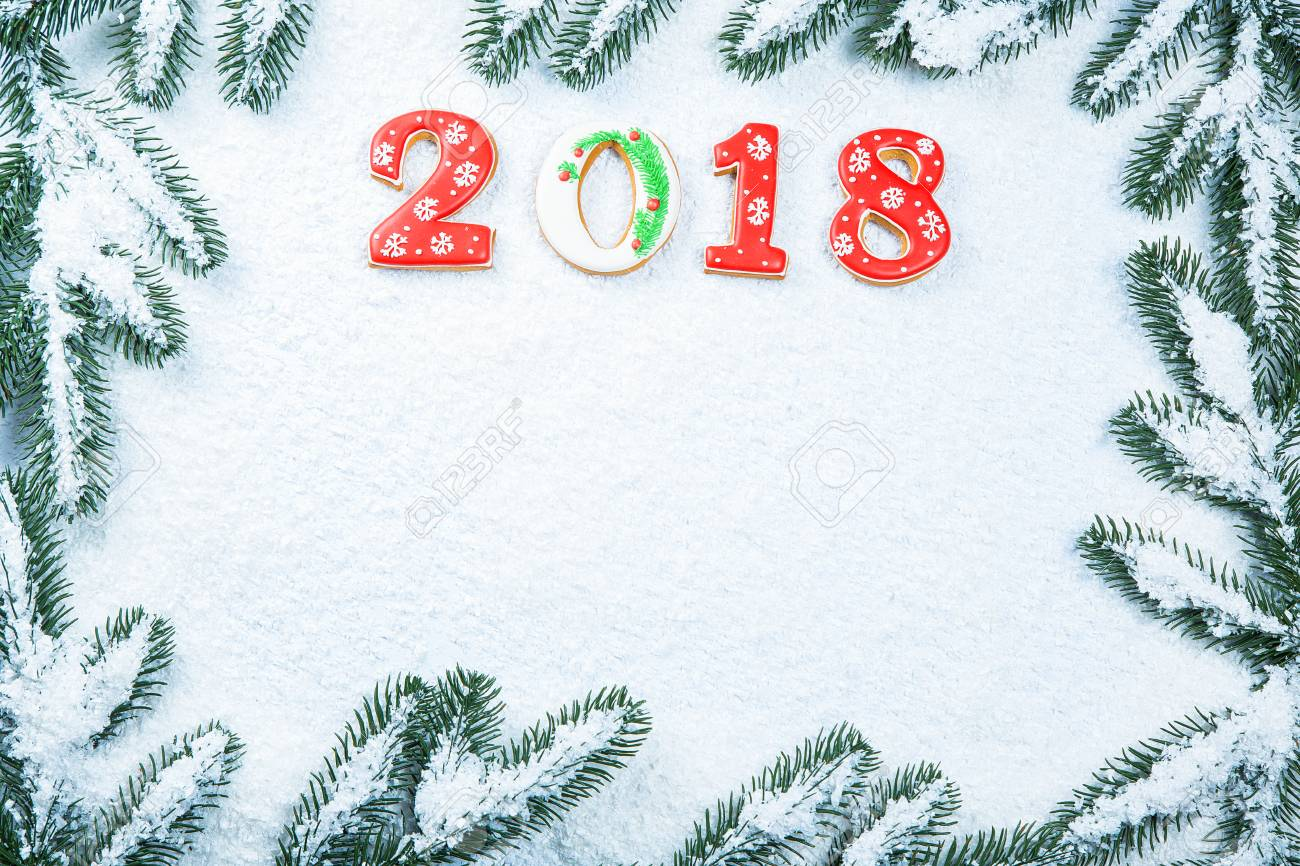 Christmas Background With Gingerbread Cookie 2018, Snow And Branches ...