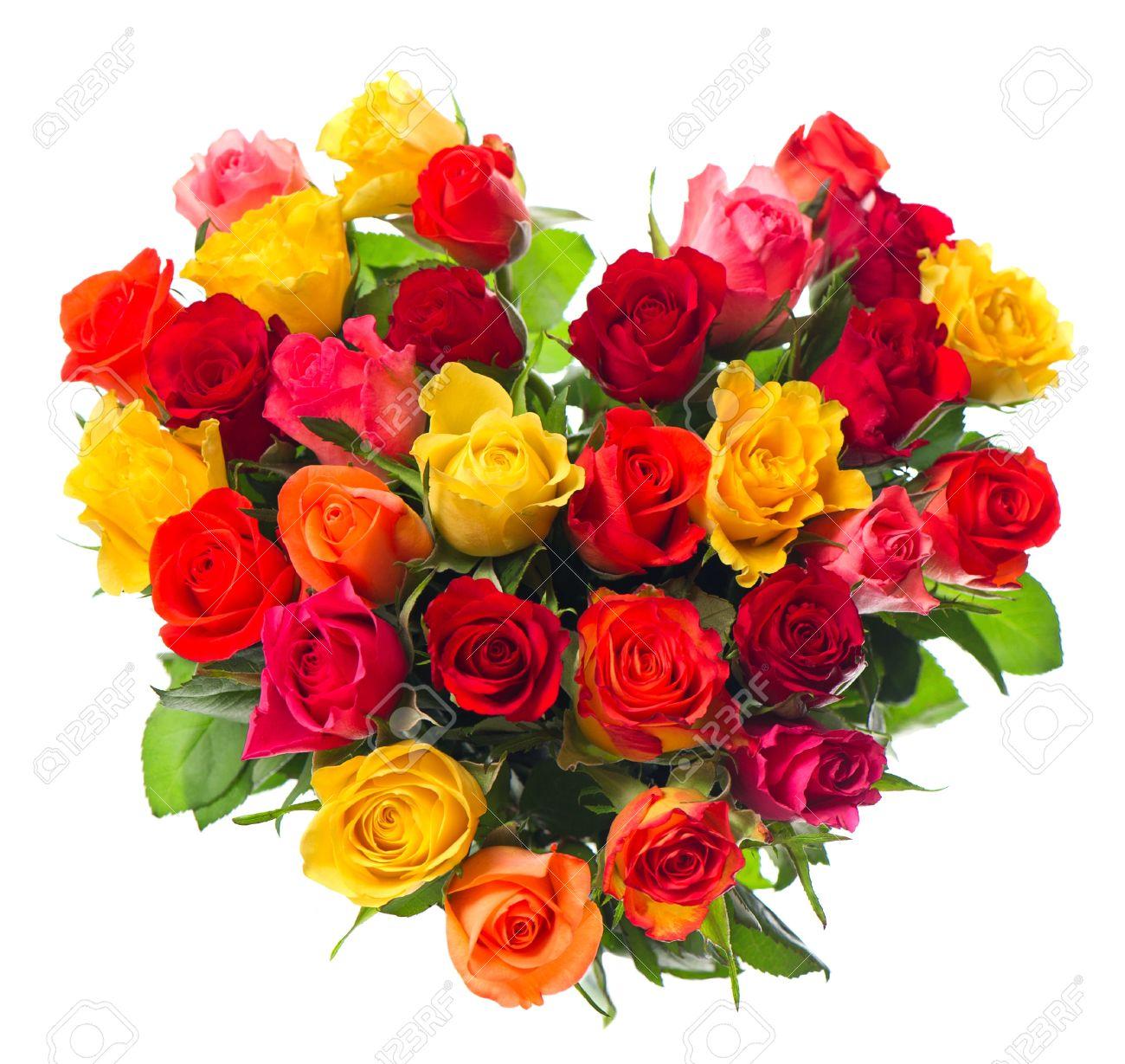 Ramo De Rosas De Colores Variados En Forma De Corazón En El Fondo