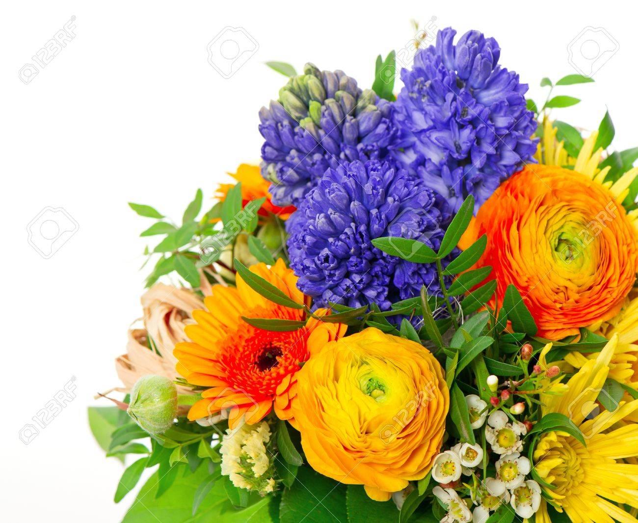 Souvent Beau Bouquet Des Fleurs Printanières Colorées. Renoncules  WA69