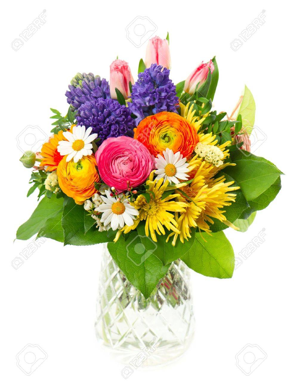 Beautiful Bouquet Of Colorful Spring Flowers In A Glass Vase Stock Photo Picture And Royalty Free Image Image 21088660