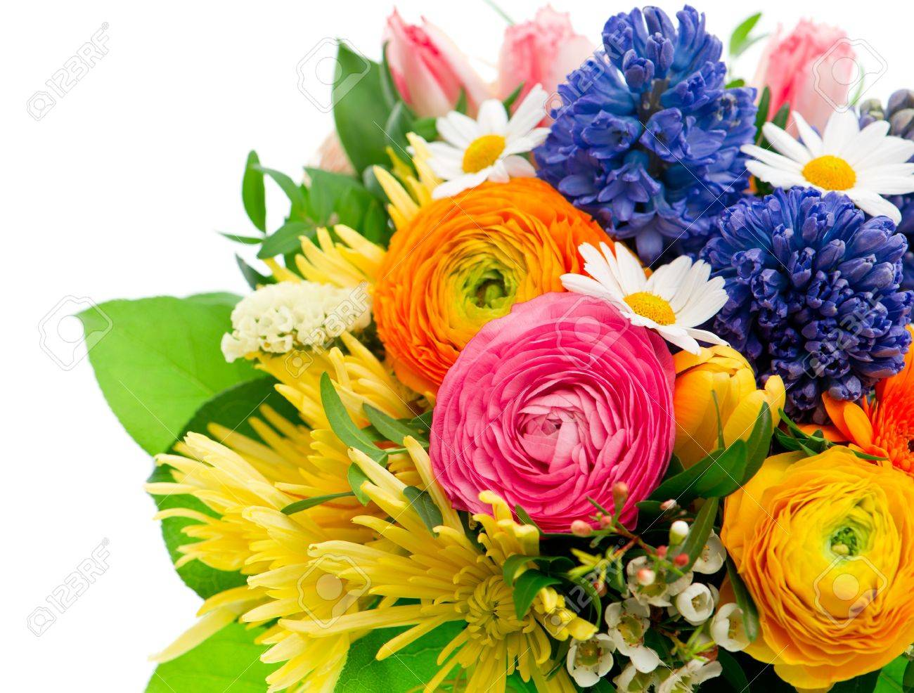 Beautiful Bouquet Of Colorful Spring Flowers Tulip Ranunculus Stock Photo Picture And Royalty Free Image Image 21088679