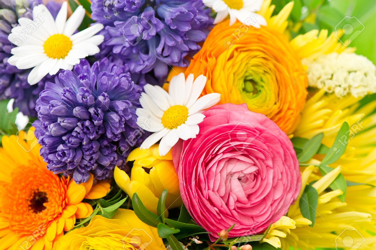 Beautiful Bouquet Of Colorful Spring Flowers Ranunculus Hyacinth